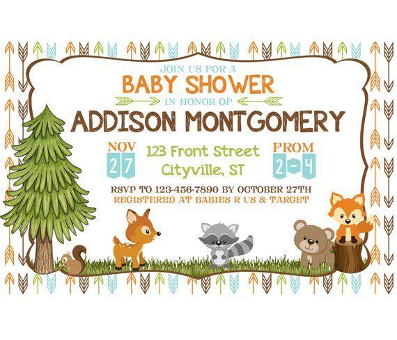 Woodland Animal Baby Shower Digital Invitation / Fox Deer