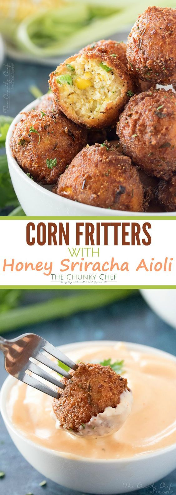 Photo of Sweet Corn Fritters with a Spicy Aioli – The Chunky Chef