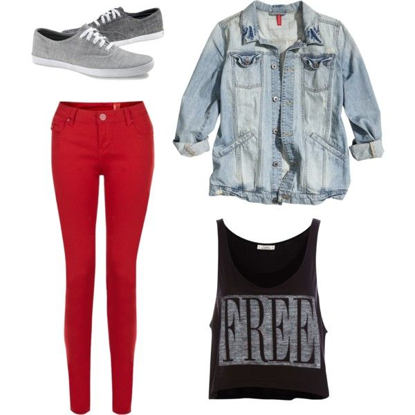 Fall Concert Outfit. I really want a pair of red pants!