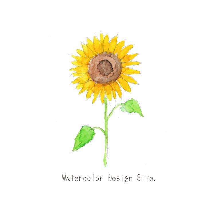 水彩向日葵イラスト