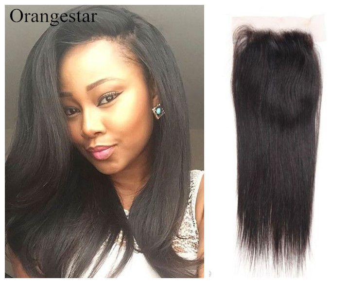 Remy Virgin Indian Human Hair Extensions Lace Closure Top Front