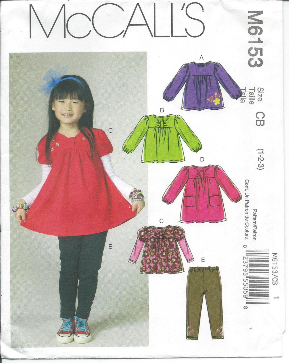 Mccalls 6153 girls toddler top dress leggings sewing mccalls 6153 girls toddlers tops dress and leggings sewing pattern sizes 1 2 3 jeuxipadfo Choice Image