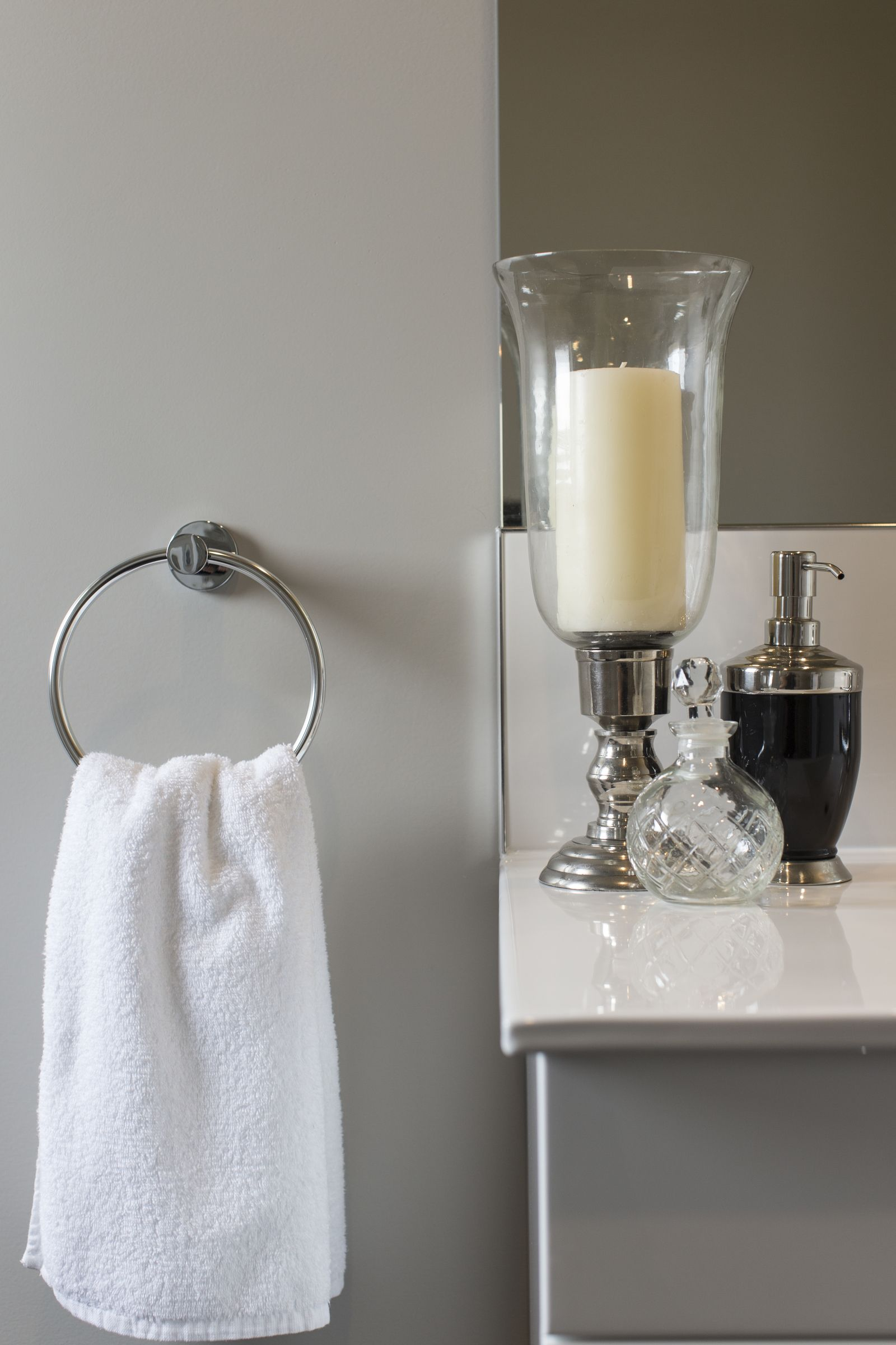 This Beautiful Collection Of Glass And Silver Bathroom Accessories