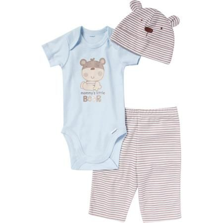 Walmart Baby Boy Clothes Fascinating Gerber Newborn Boy 3Piece Critter Onesie Pant And Cap Set 2018