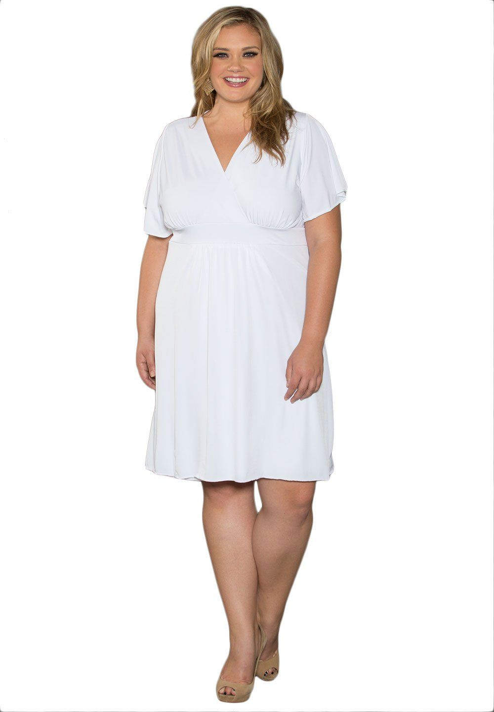Sealed With A Kiss Designs Plus Size Classic V Neck Dress In White Amazon Clothing White Short Dress Casual Dresses Plus Size Casual White Dress [ 1440 x 1000 Pixel ]
