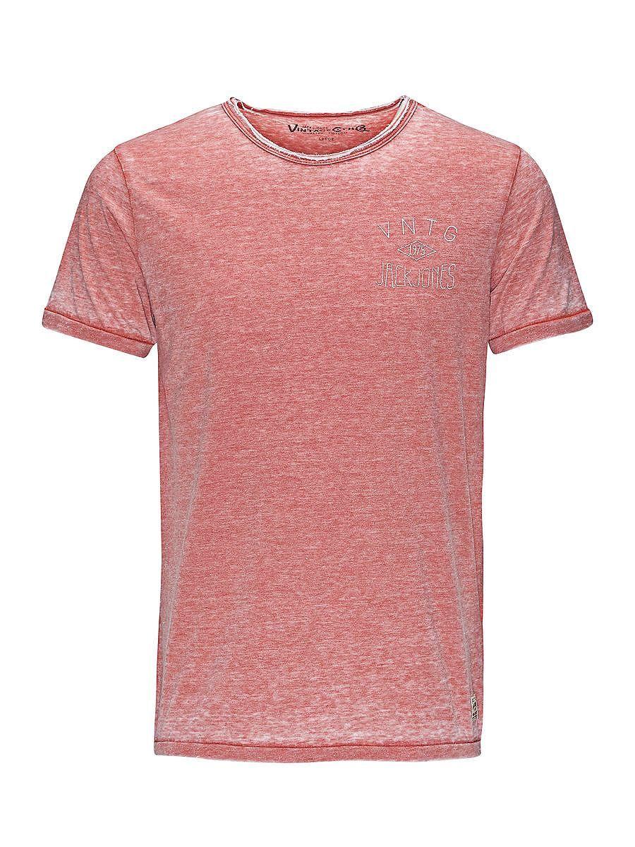 JACK & JONES VINTAGE CLOTHING - T-Shirt von VINTAGE - Rundhalsausschnitt - Ungesäumte Kanten am Kragen - Burn-out-Effekt - Craquelé-Aufdruck an der Rückseite - Markenlogo-Print in Craquelé-Optik an der Brust - Markenlogo-Patch am Saum - Das Modell trägt Größe L und ist 187 cm groß 50% Polyester, 50% Baumwolle...