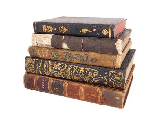 Antique Decorative Book Stack Black And Brown Ornate Books Earth
