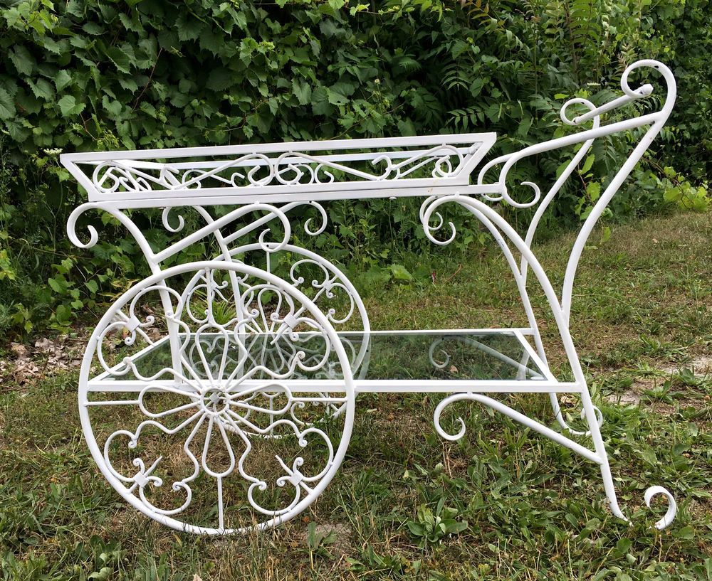 Vintage French Wrought Iron Metal Garden Plant Stand Bar Cart