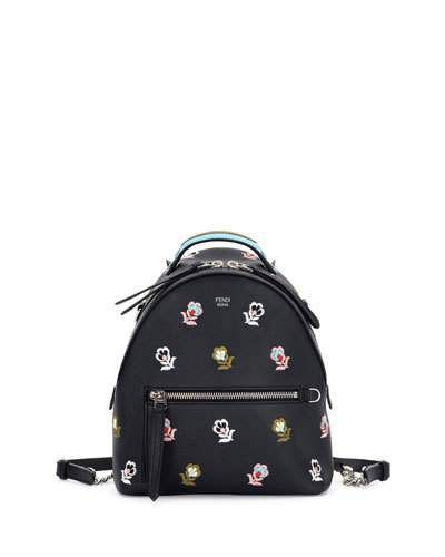 18914af0fd FENDI ZAINO MINI FLORAL-EMBROIDERED BACKPACK, BLACK. #fendi #bags #leather # backpacks #