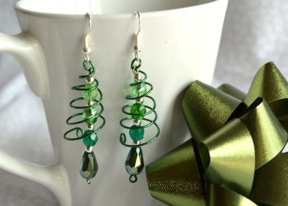 Christmas Earrings, Handmade Wire Christmas Tree Earrings