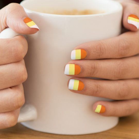 HALLOWEEN CANDY CORN nails Minx Nail Art | Zazzle.com ...