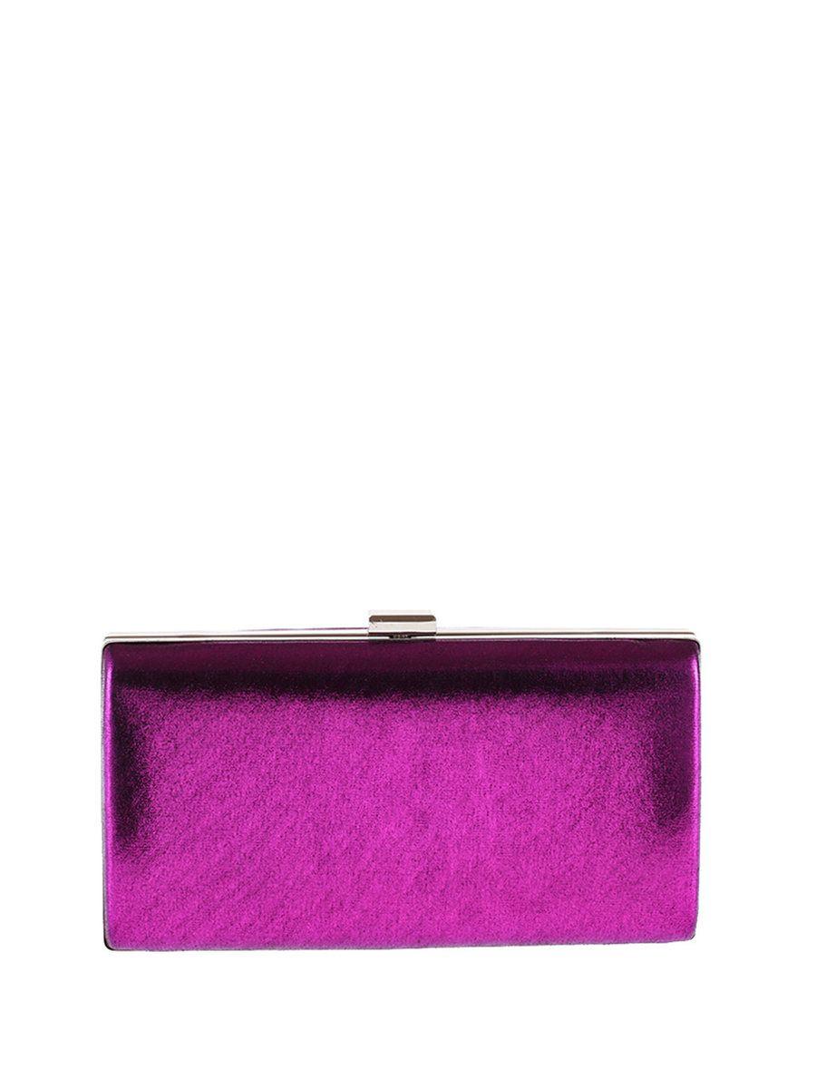 #AdoreWe #StyleWe Clutches - Designer HUA BAN Solid Metallic Trimmed PU Clasp Lock Evening Clutch - AdoreWe.com