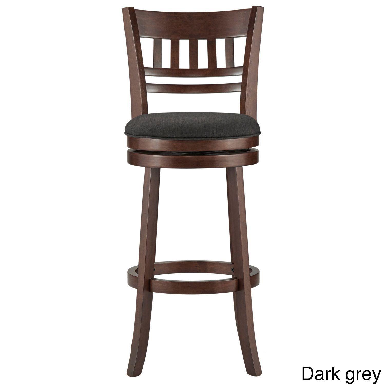 Verona linen window back swivel 29 inch high back bar stool by inspire q classic