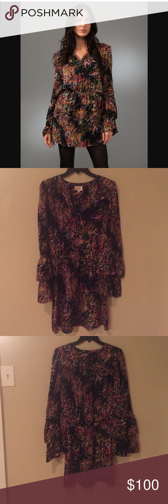 Parker multi color double flare sleeve dress So pretty! Worn 3 times! Parker double flare sleeve dress black and multi color! Parker Dresses Long Sleeve