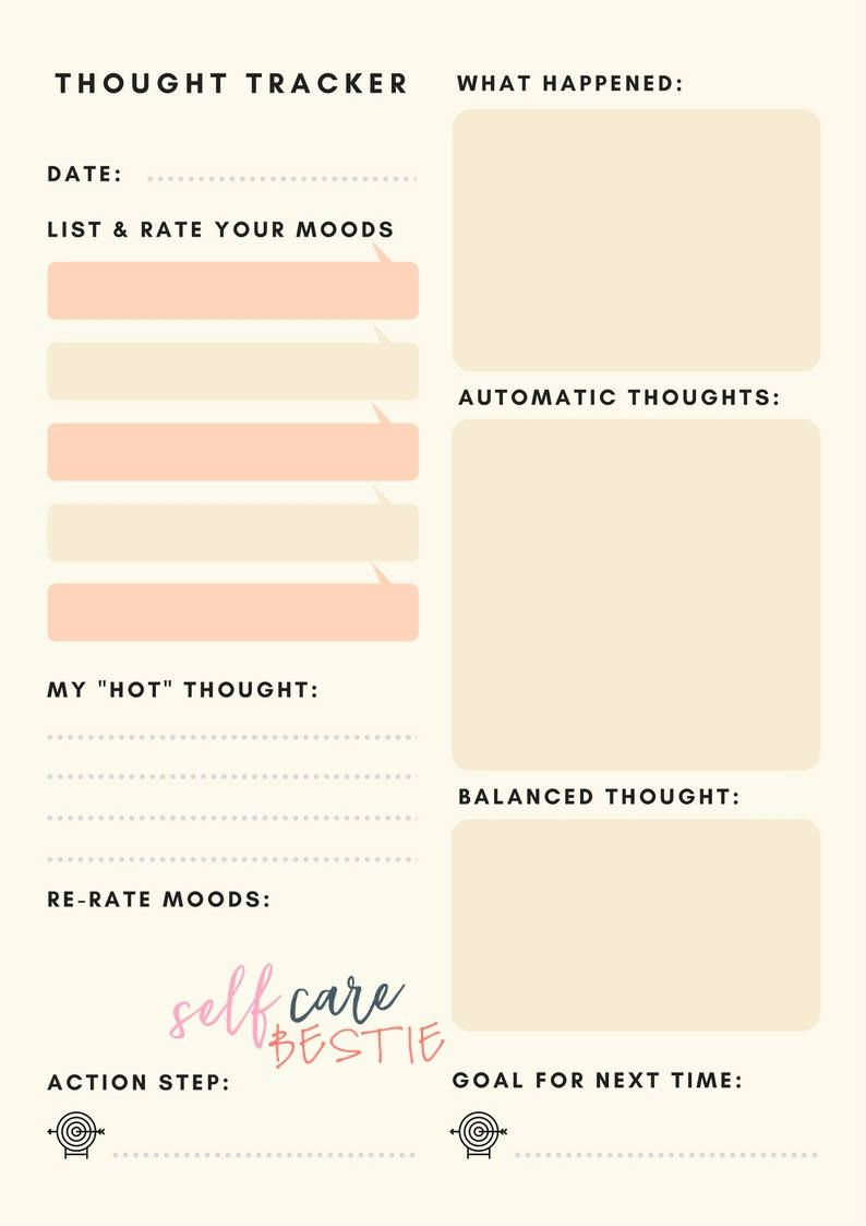 Thought Tracker Worksheet by SelfCareBestie on Etsy