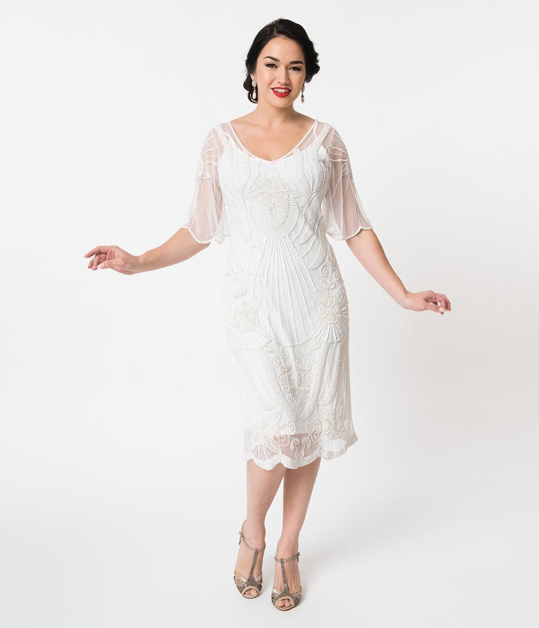 1920s style white beaded butterfly short sleeve kate