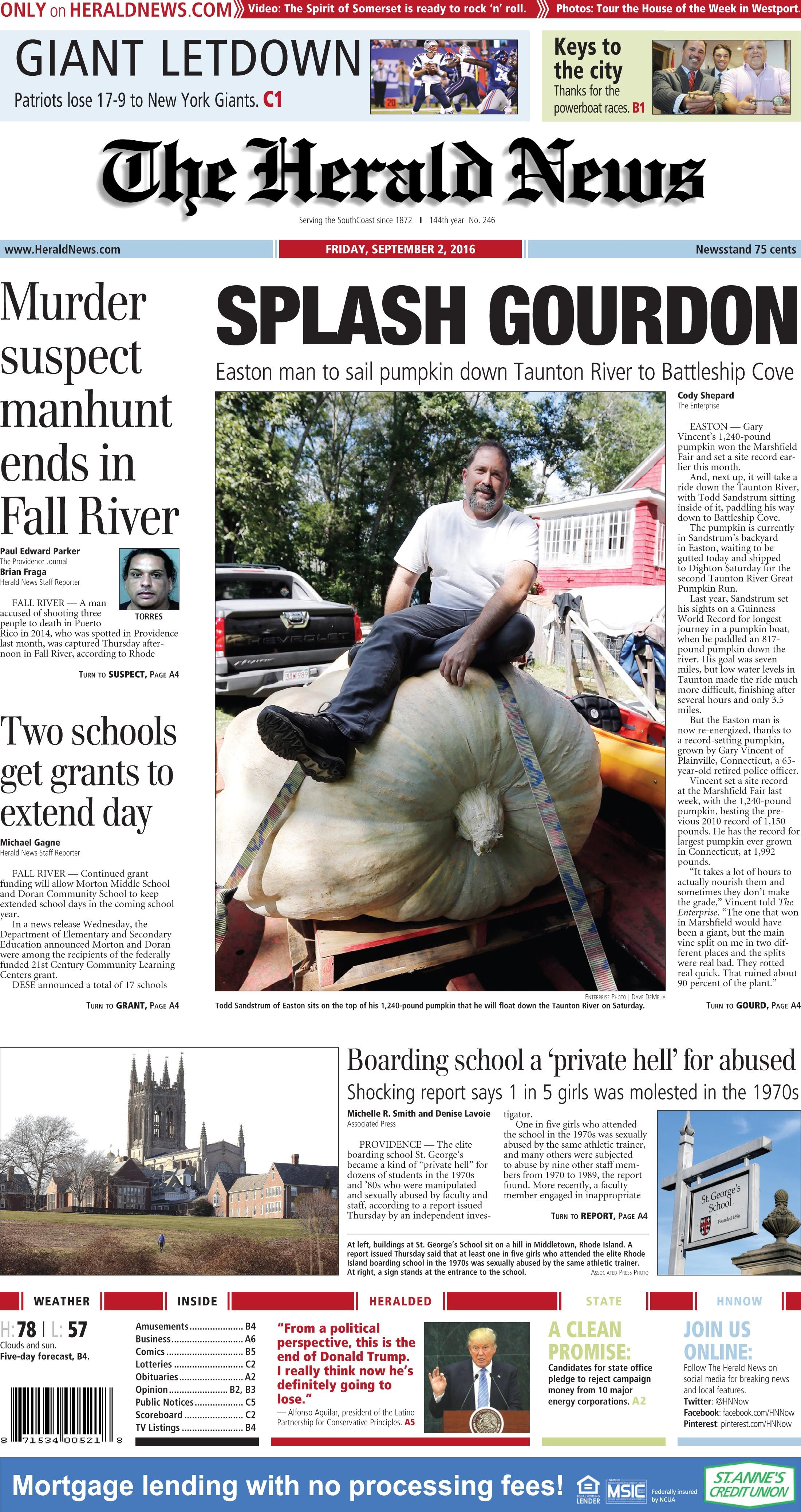 The Front Page Of The Herald News For Friday Sept 2 2016 Patriots Lose New York Giants Fall River