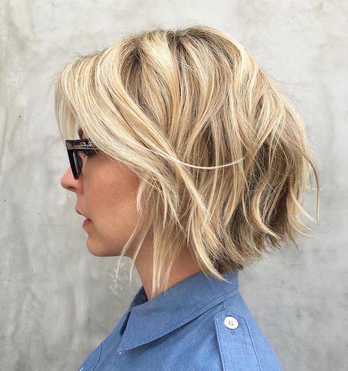 Épinglé par Madame.tn sur Shopping   Carré plongeant blond, Coiffure et Coupe de cheveux courte