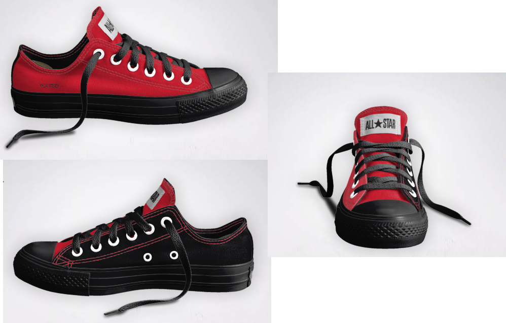 Red and black converse shoes | Red