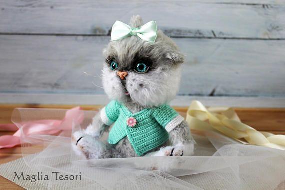 Amigurumi Cat Doll : Cat lover gift amigurumi cat toy grey cat doll stuffed cat plush