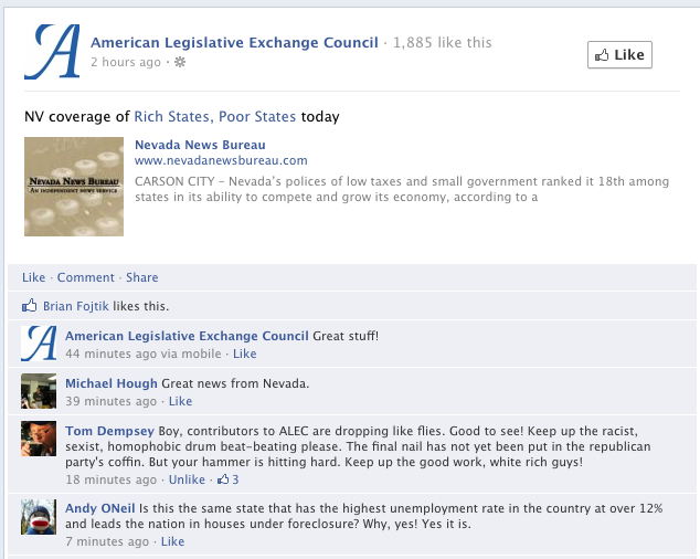 Mr Andy O Neil Chimes In On Facebook Showing That Nevada May Not Be The Best Example For Alec To Uphold Http With Images Guest Blogging Small Government Smart Alec