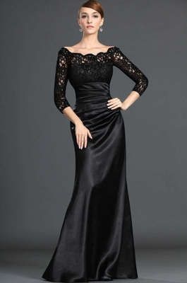 New Black Lace Evening Long Sleeve Wedding Dresses Prom Evening Dresses Custom | eBay
