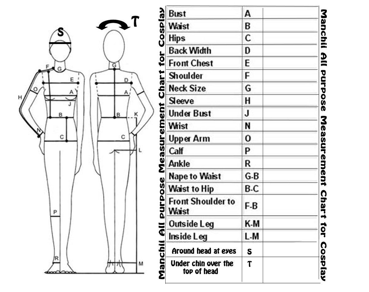 Measurment Chart For Costumes By Franchii Manchii