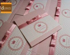 Convite Para Chá De Bebê Laço Rosa