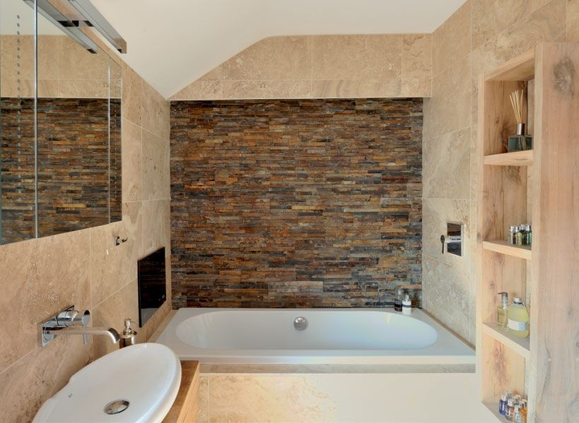 Bathroom slate wall | Interior Design | Pinterest | Natural stone ...