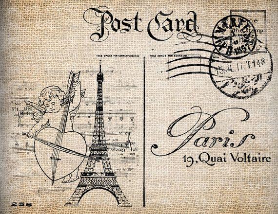 Antique Post Card Cherub Valentine France French Paris Illustration Digital Download for Papercrafts, Transfer, Pillows, etc No 5547 via Etsy