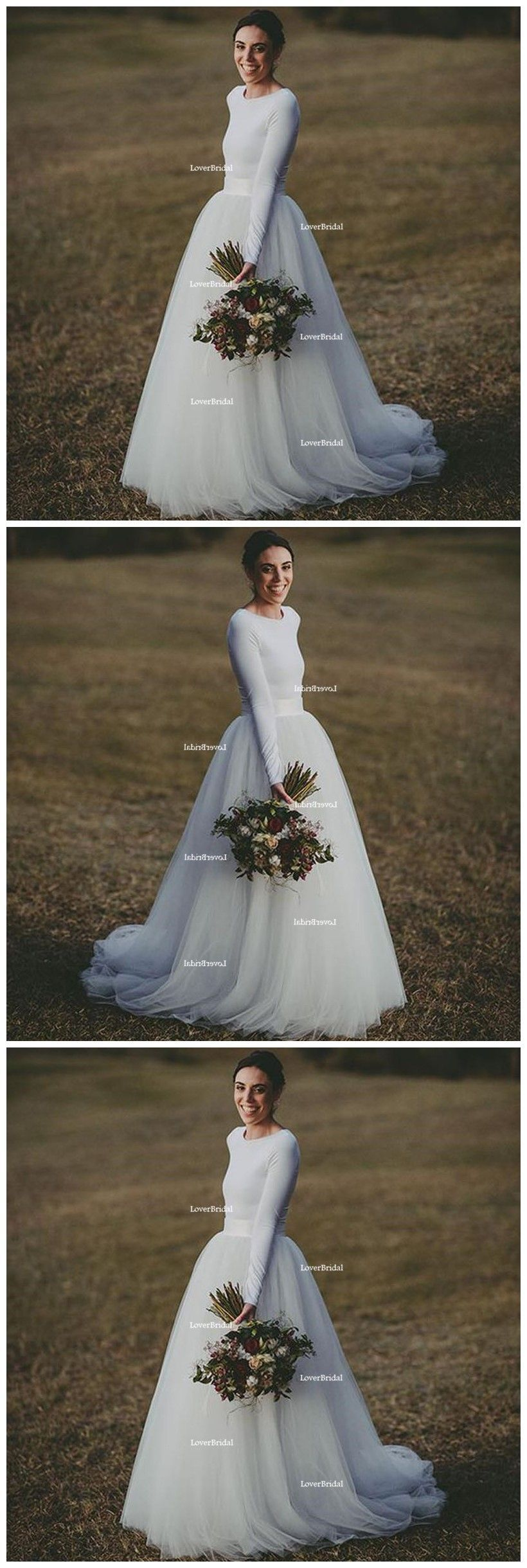 Simple white wedding dresses  Simple White Long Sleeves Cheap Custom Make Long Wedding Dresses