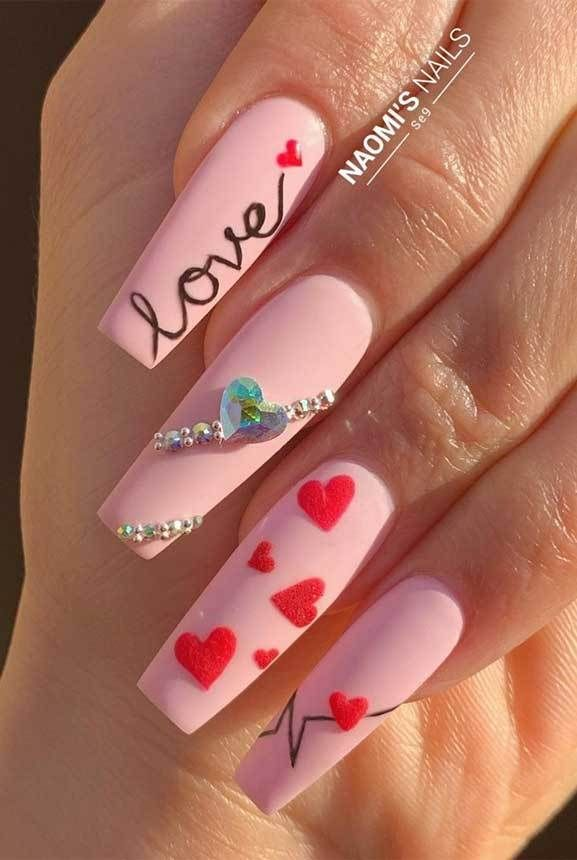 Best Valentine S Nail Art Designs For 2020 1 In 2020 Valentines Nails Best Acrylic Nails Valentines Nail Art Designs