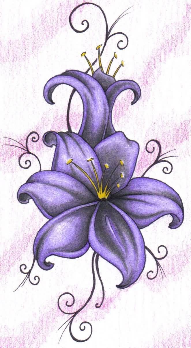 Wonderful Purple Lily Tattoo Design On Paper Truetattoos Makeup
