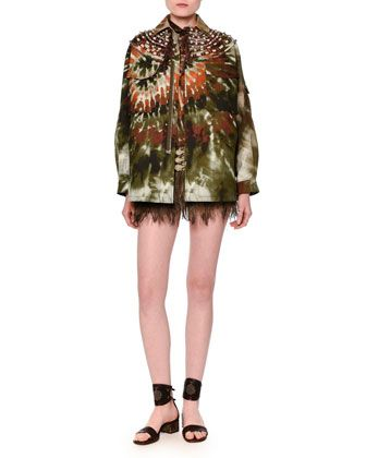 Tie-Die+Gabardine+Military+Coat,+Long-Sleeve+Tie-Dye+Cotton+Blouse+&+Embroidered+Emu+Feather+Mini+Skirt+by+Valentino+at+Bergdorf+Goodman.