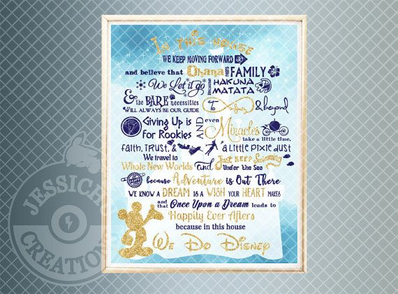We Do Disney Print with Gold Glitter Vinyl Accent - In this House, Home Decor, Ohana, Frozen, Lion King, Finding Nemo, Pixar, Mickey Mouse