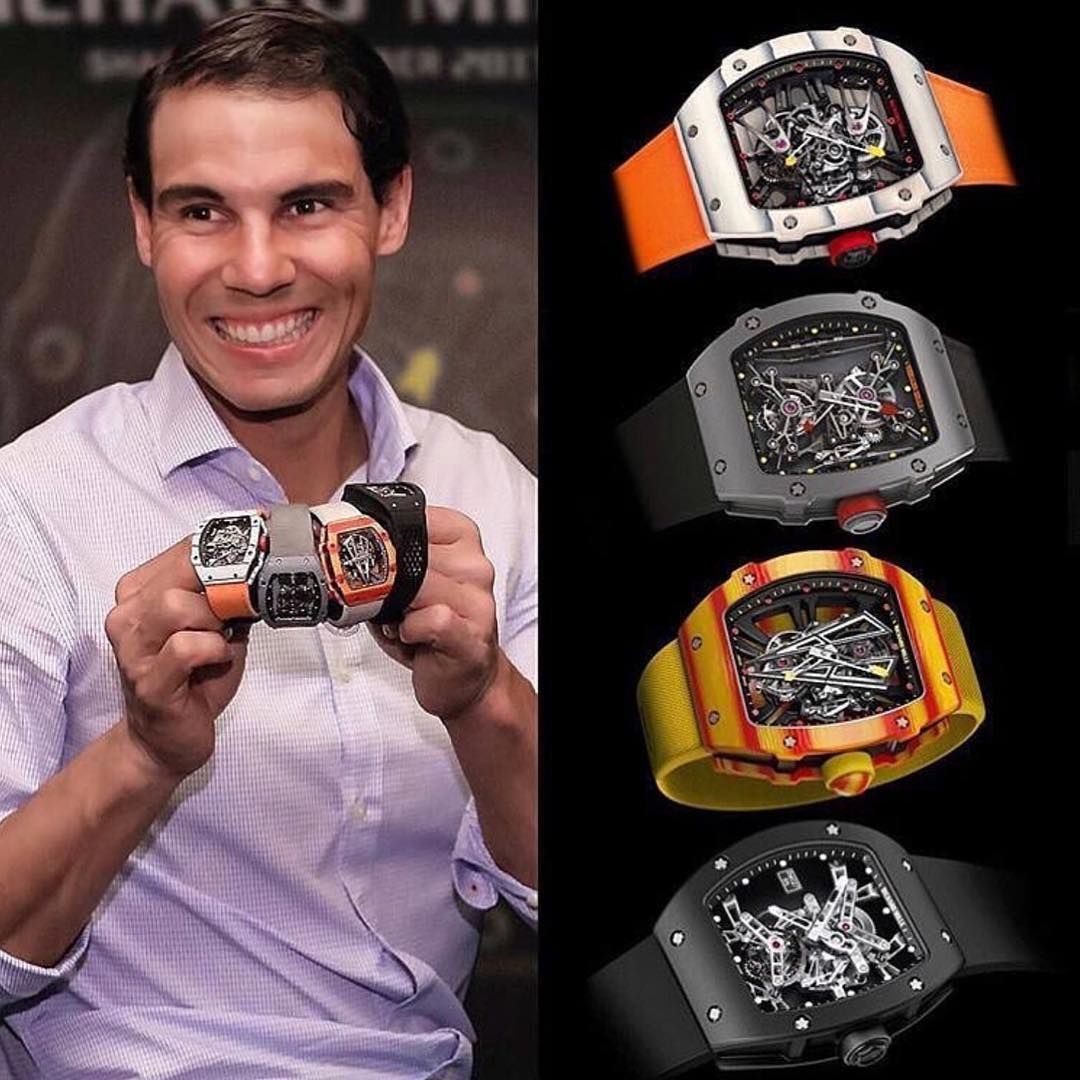 Rafael Nadal Showing Off Almost 3 000 000 Usd In Richard Milles Richard Mille Watches Richard Mille Watches Men Mens Accessories Fashion