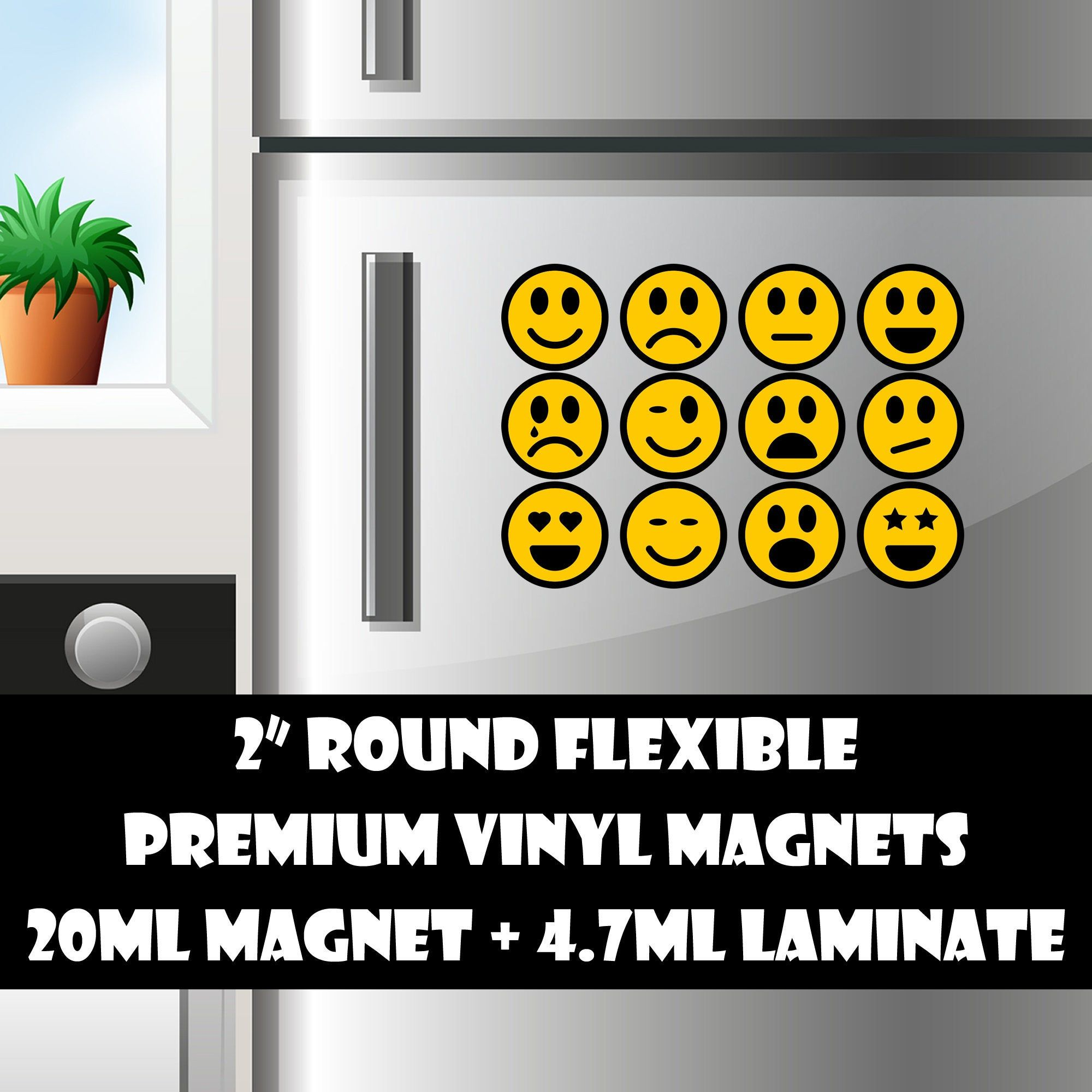 12 2inch Round Emoticons Standard Photo Or Vinyl Print Materials With Laminate Or Magnet Options Available Magnetic Bumper Stickers Vinyl Magnets Printed Materials