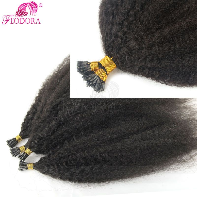 Prebonded Remy Hair Extensions Kinky Straight I U Flat Tip Extension 1g