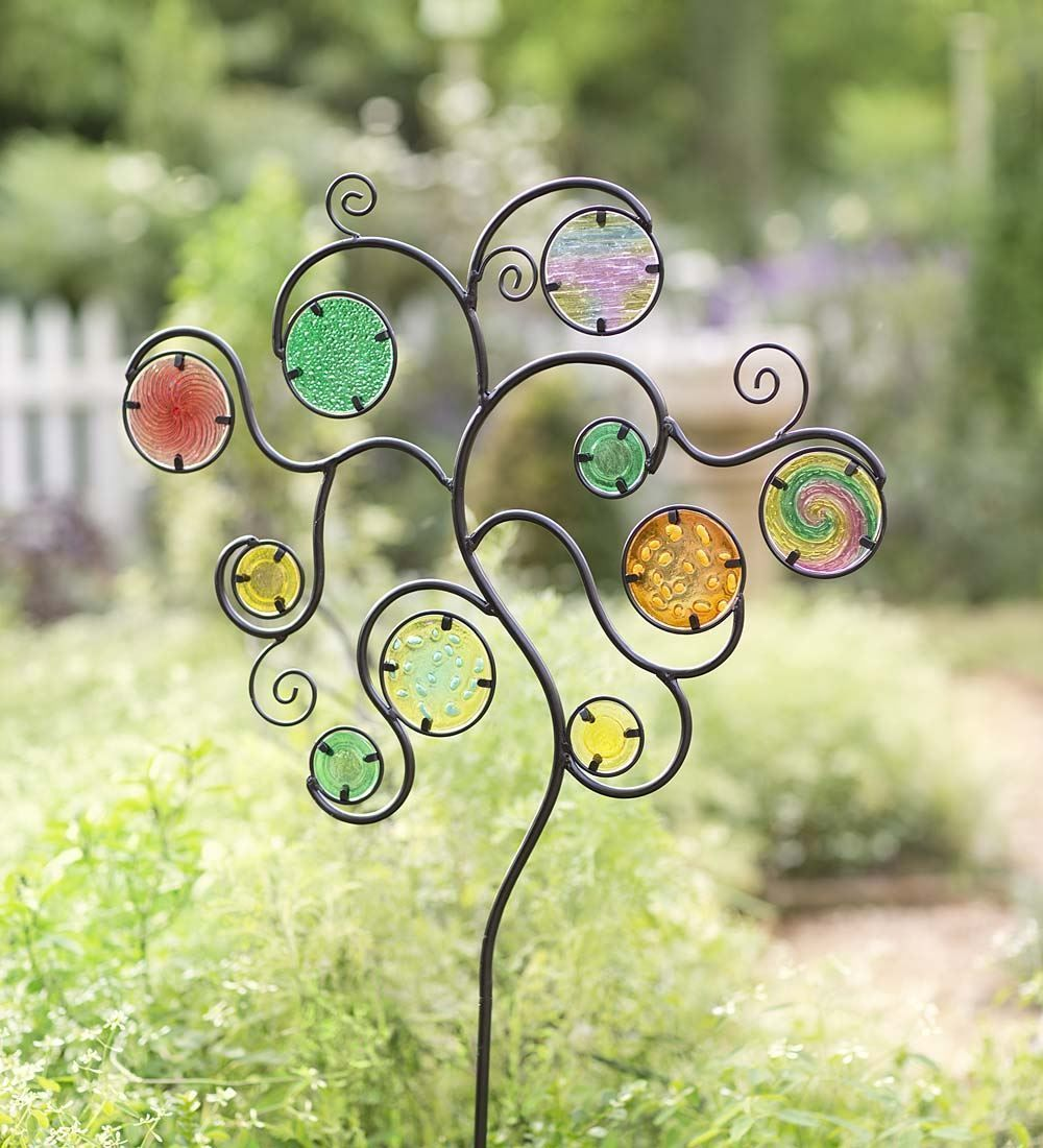 Wind & Weather Metal Garden Stake w/Colorful Glass Circles - Garden ...