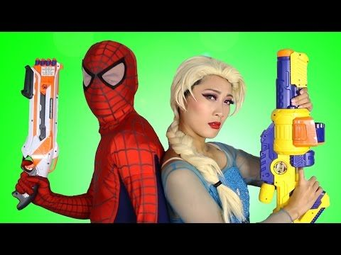 Frozen Elsa & Spiderman Nerf Gun War! w/ Joker, Venom, Spidergirl &