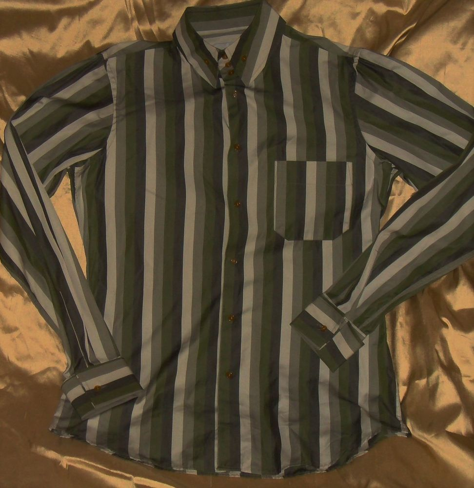 Green striped dress shirt  VIVIENNE WESTWOOD Mens SIZE V  Shades Of Green Striped XL SLIM FIT