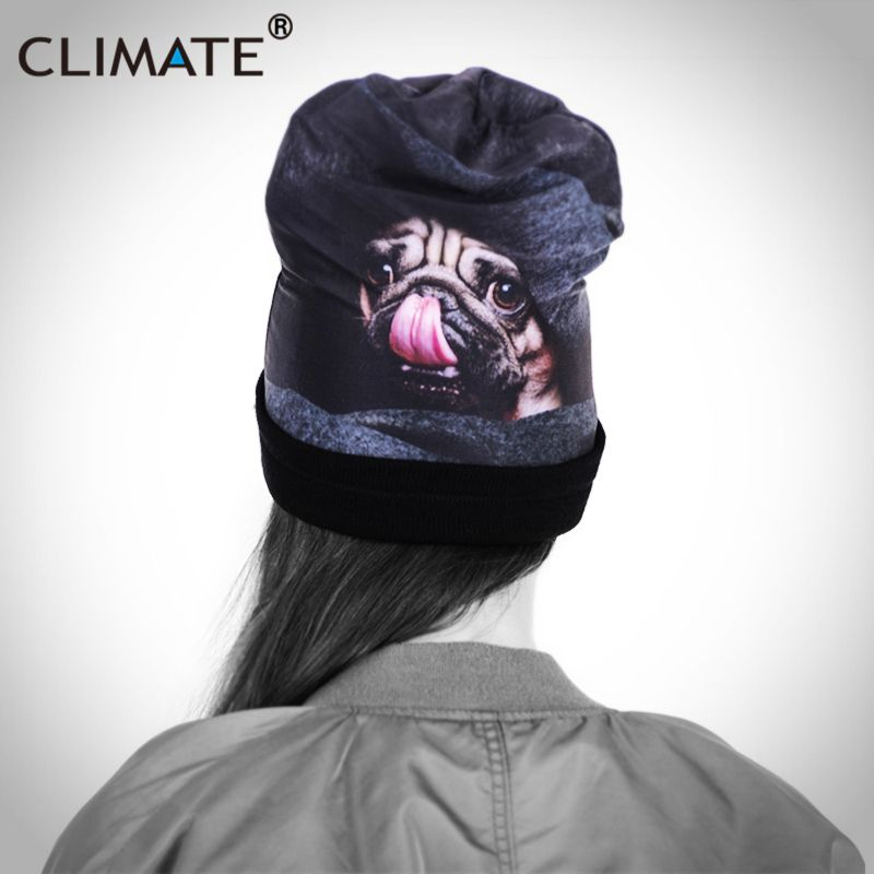 d0904e7ce33 CLIMATE Women Girls Unique Winter Warm Beanies Hat Staring 3D Cute Dog  Printing Vivid Pug Dog