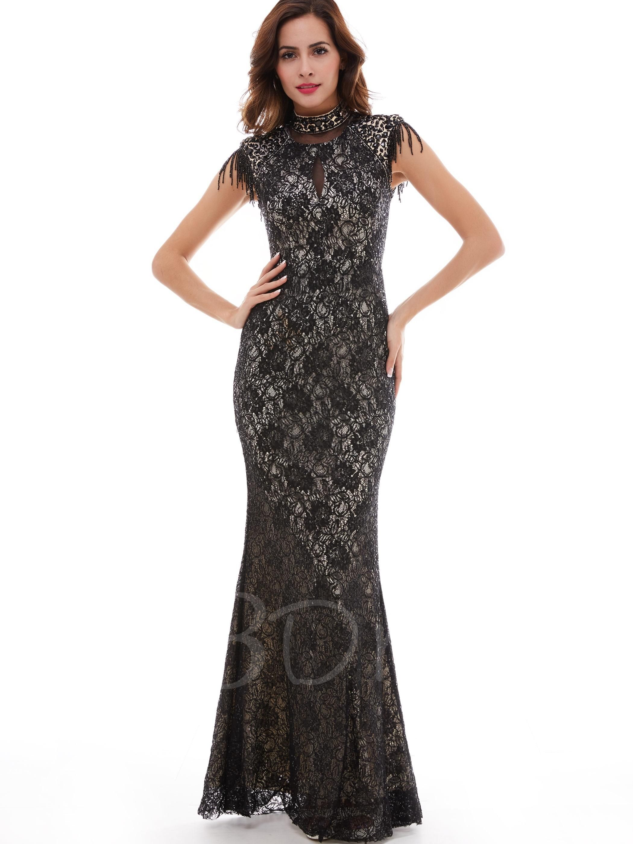 Choker high neck lace mermaidtrumpet evening dress lace mermaid