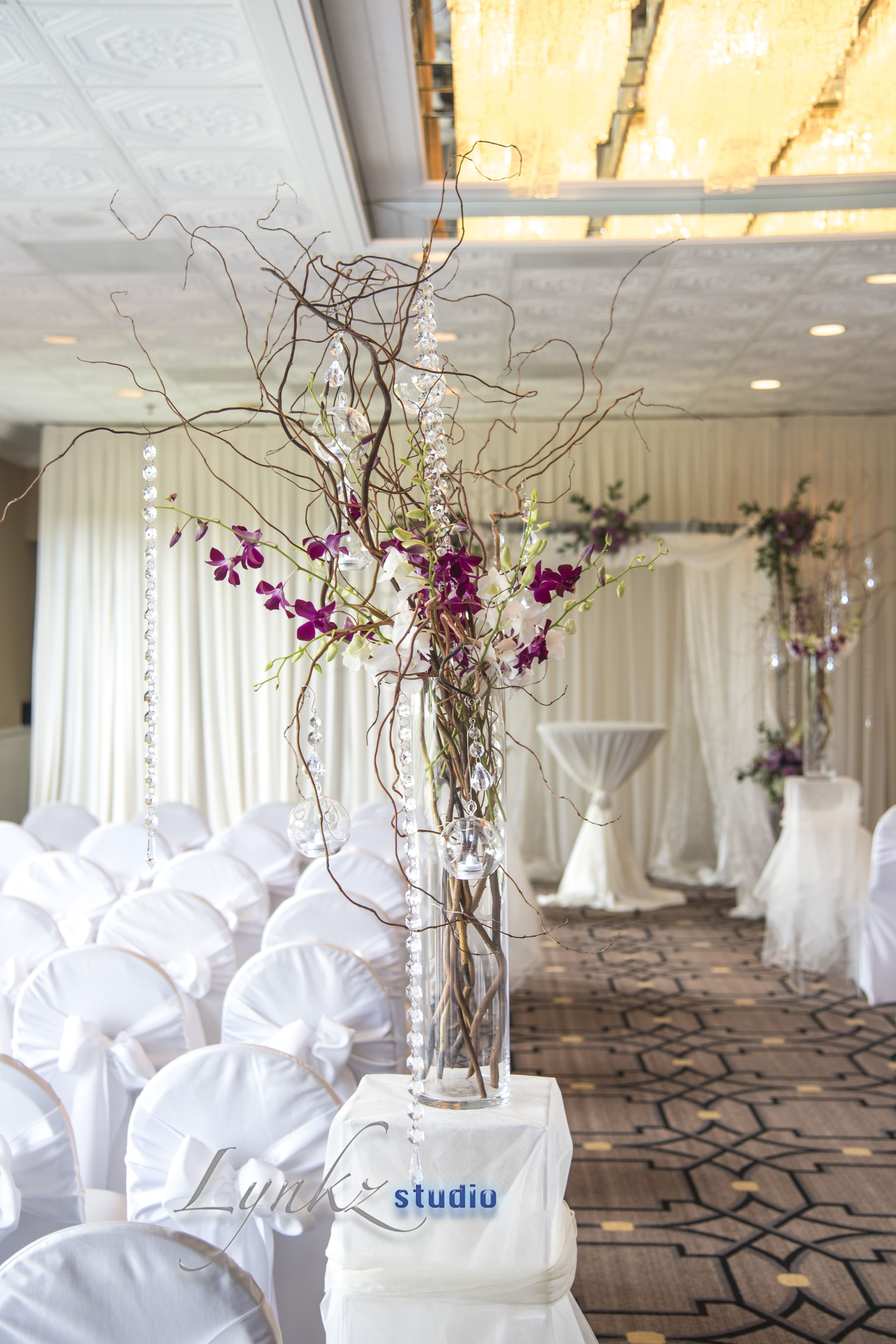 beautiful tall centerpieces with white and purple dendrobium orchids ...