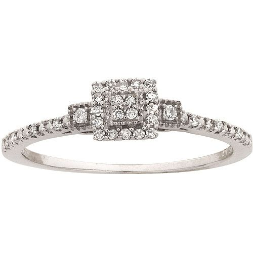 Diamond-Accent Engagement Ring in 10kt White Gold