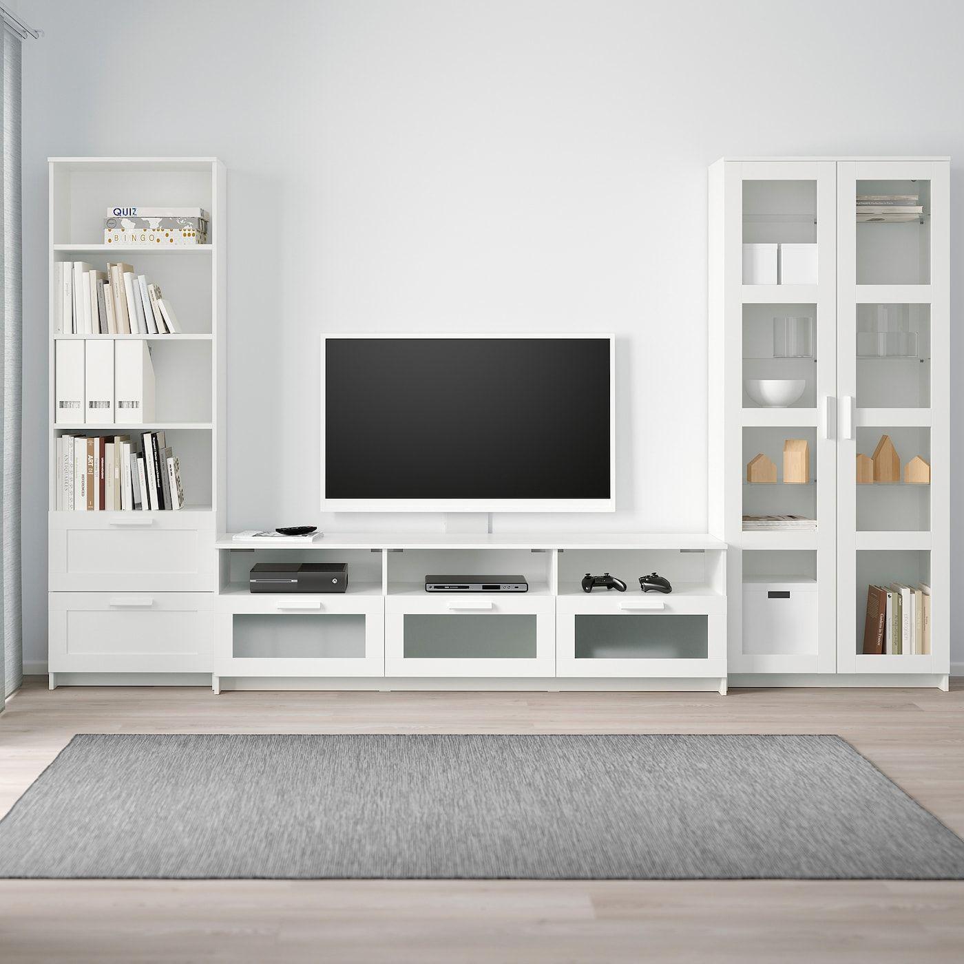 IKEA BRIMNES TV-Kombination mit Vitrinentüren – weiß
