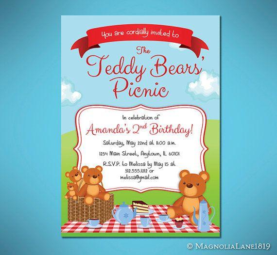 Teddy Bear Picnic Birthday Invitation By Magnolialane1819 On Etsy 15 00 Teddy Bear Picnic Teddy Bear Picnic Birthday Picnic Invitations