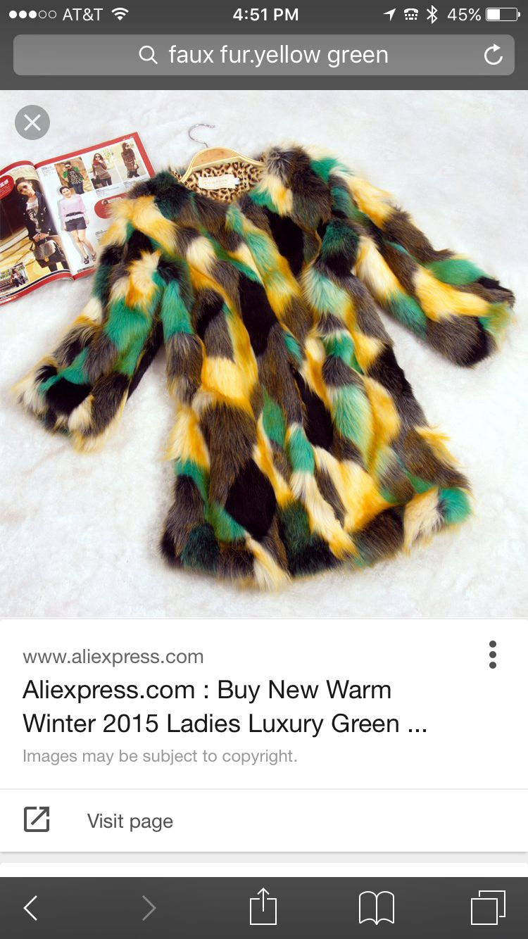 Green and gold faux fur coat