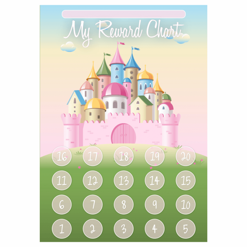 a3 princess castle reward chart and 35 matching stickers