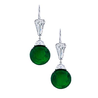 """Intense Green"" round Columbian emerald cabochons of 20.57 carats, accented with 2 tapered bullet diamonds, 2 crescent half-moon diamonds and micro-set with 208 diamonds set in platinum. #diamonds #earrings #martinkatz #jewels #columbian #emerald #martinkatzjewels"